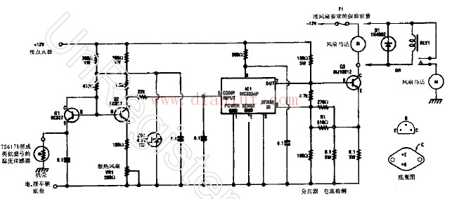 汽车电扇恒温控制开关的电路图