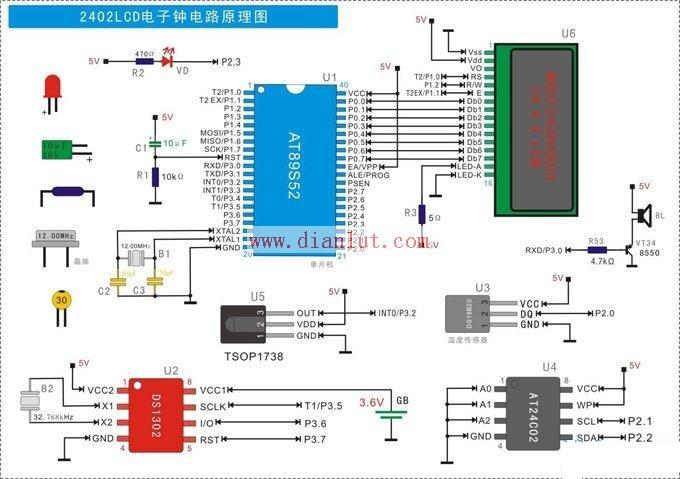 【图】基于at89s52微控制器设计2402lcd电子钟电路