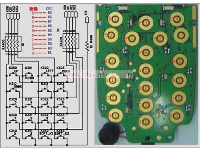 A319小灵通手机键盘电路原理图