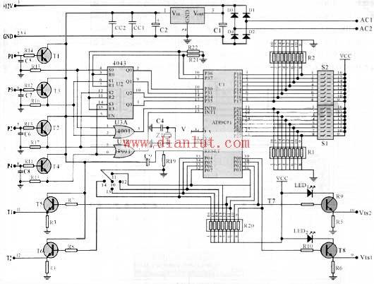 cpu软件编程控制和定时延时设定三部分,整个电路共有14条引出线,其中2