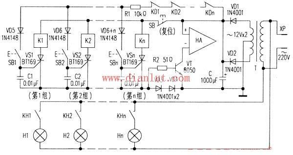 【图】电子抢答器电路示意图基础电路