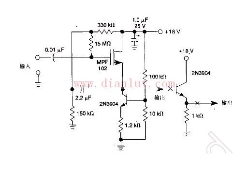 【图】输入的抗阻为500m的jfet放大器其它电路图 电路