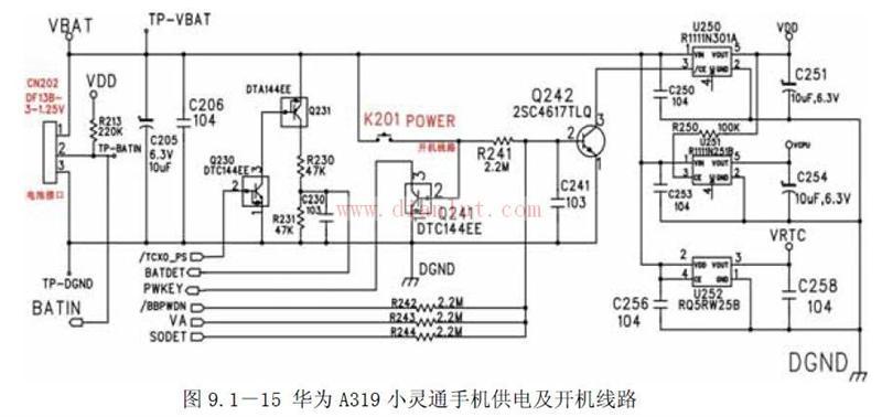 华为A319小灵通手机开机电路原理电路图