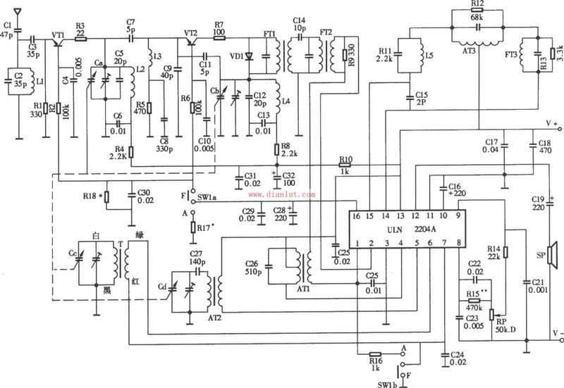 uln2204a设计的收音机工作原理电路图
