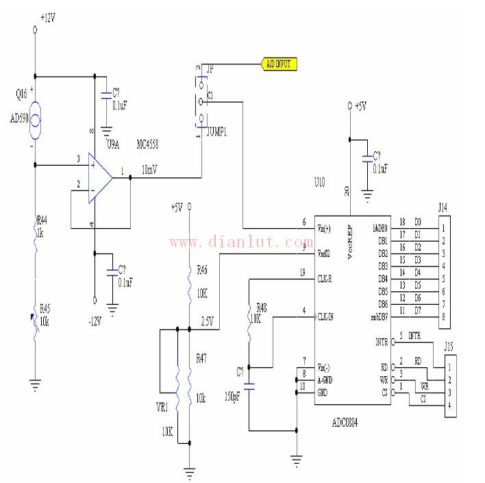 A/D电路以两种方式输入讯号,这两种方式的切换由JUMP1来连成,拨上输入由USER自己供给,拨下则由AD590温度感测器來输入讯号,J14、J15分别为输出资料脚及控制脚。   ADC0804引脚功能及应用特性如下:   CS 、RD 、WR (引脚1、2、3):是数字控制输入端,满足标准TTL 逻辑电平。其中CS 和WR 用来控制A/D 转换的启动信号。CS 、RD 用来读A/D 转换的结果,当它们同时为低电平时,输出数据锁存器DB0~DB7 各端上出8 位并行二进制数码。CLKI(引脚4)和CL