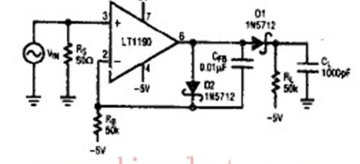 检波器,是检出波动信号中某种有用信息的装置。用于识别波、振荡或信号存在或变化的器件。检波器通常用来提取所携带的信息。检波器分为包络检波器和同步检波器。前者的输出信号与输入信号包络成对应关系,主要用于标准调幅信号的解调。后者实际上是一个模拟相乘器,为了得到解调作用,需要另外加入一个与输入信号的载波完全一致的振荡信号(相干信号)。同步检波器主要用于单边带调幅信号的解调或残留边带调幅信号的解调。   在该开环检波器中,D1是检波二极管,D2是电平漂移补偿二极管,负载电阻RL接-5V电压而同样阻值的偏置电阻R