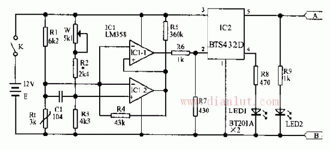 【图】汽车空调的电子温控器电路设计基础电路