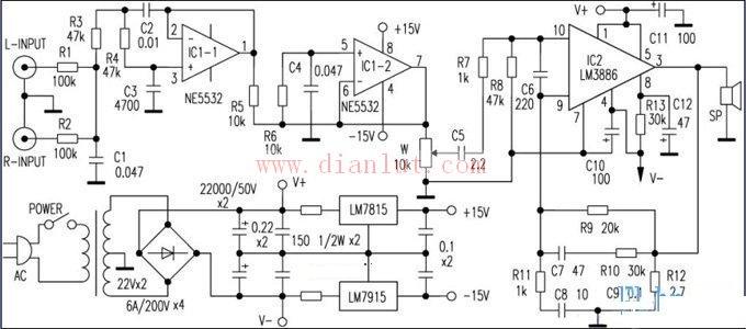本电路即为LM3886配合NE5532前置级制作的一台重低音功率放大器,搭配重低音音箱可获得较好的听音效果。LM3886是大功率单声道音频功率放大集成电路,11脚单列直插式封装,内部具有完善的保护电路。在70V电源时,可在8负载上输出50W的连续平均功率,非常适合制作低音放大器。 来源: