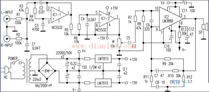 lm3886和ne5532设计的重低音功放电路原理图