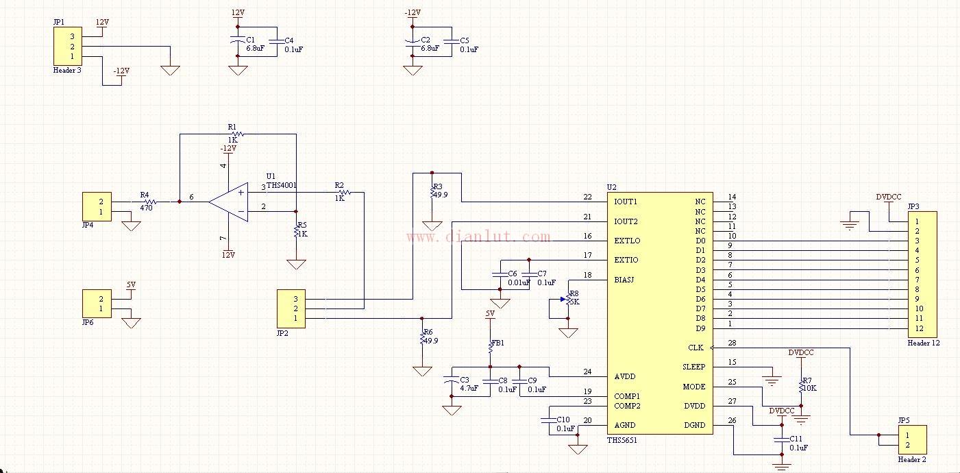 ths5651芯片的典型应用电路