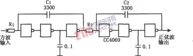cc4069构成的低成本积分器电路原理图