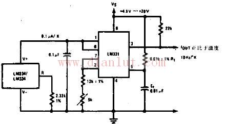 温度频率变换器电子电路图