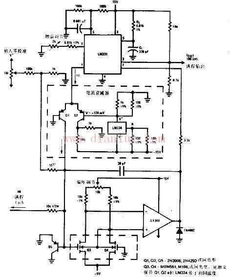 该电路中lm331是美国ns公司生产的性价比较高的集成芯片.