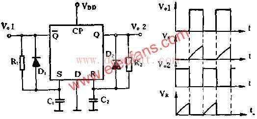 d触发器设计的无稳态电路原理图