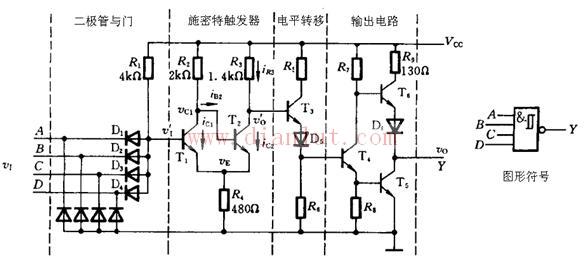 与非ttl施密特触发器电路原理图