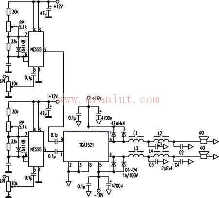 ne555与tda1521共同组成的d类数字功放电路