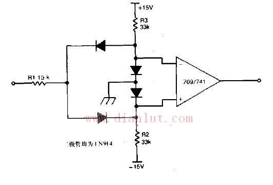 典型的双极限比较器电路图