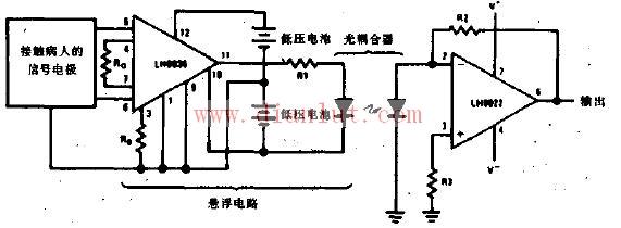 和输出电路之间电气绝缘的放大器,一般采用变压器或光耦合传递信号,在