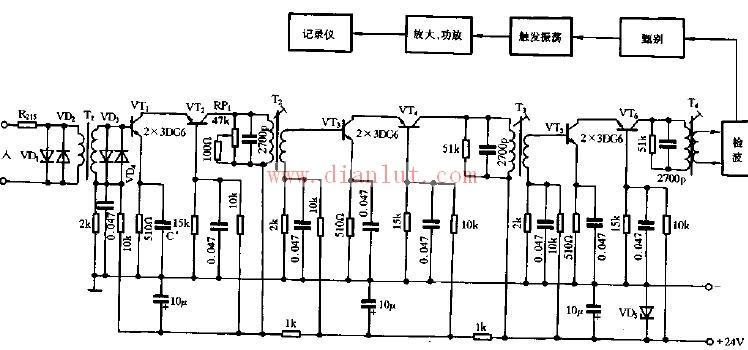 电路图 线性放大电路 >> 探鱼器接收机电路电路图            声纳