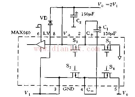 简易MAX660系列的构成倍压变换器电路图