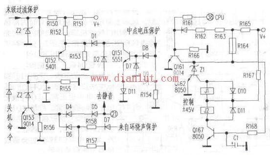DS7188AV构成功放保护电路原理图