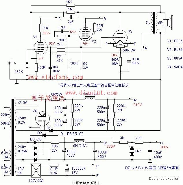 这是一款经过实做,性能尚可的805单端电路,且调试十分简单。推动级虽然没有加入负电压供电,但是抬高了805阴极电位,等效增加了推动范围。整体施加了少量环路反馈,不会造成音质受损的问题。需要注意保持805灯丝供电电压 在10V 0.2V以内。输出功率在25W以上。 来源: