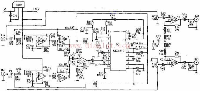 mz1812超重低音电路原理图