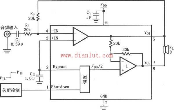 LM4819设计的音频功率放大电路原理图音频电路 电路图 捷配电子市场