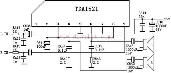 tda1521的伴音功放电路原理图