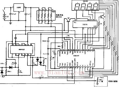【图】数字电子秤电路原理图线性放大电路