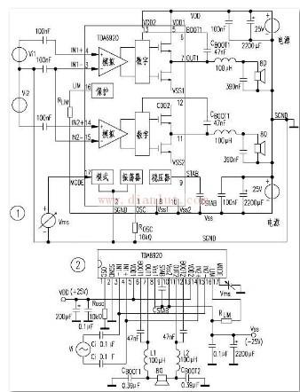 TDA8920设计的D类功放电路示意图