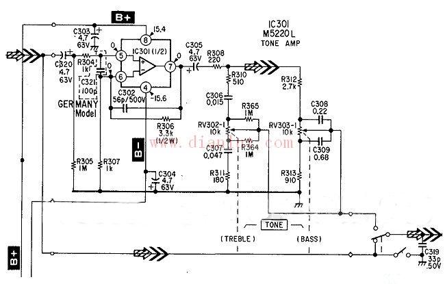 索尼TA-F333ESL HIFI功放虽然属于90年代初的机器,但是效果可不是一般的机器可以比的,在人声的表现方面清晰自然,低频动态处理非常到位,标称额定功率125W*2,放大部分采用4对场效应功放管,在当时也算是不惜成本的了。这次带来它的前级放大和音调部分电路。   OP运放采用了三菱公司出品的M5220L,从各个参数都可以看出这个IC是M5218的升级版,转换速率达到6.