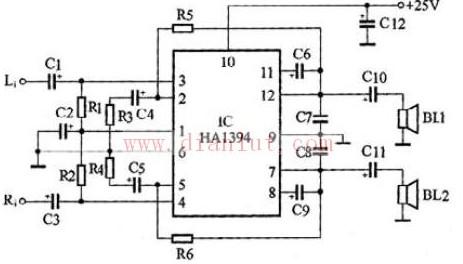 2×8w双声道功率放大电路原理图