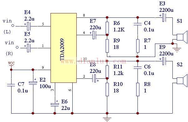 TDA2009是常见的高保真功放集成块。额定功率为210W.电源电压为8~28V。最大输出电流为3.5A。具有过热保护电路。(210W,THD=0.5%)   本电路采用该TDA2009所做的几套功放来看,效果还是很不错的,本电路地线设计要合理,另外虽其发热很小,还是要注意散热。 来源: