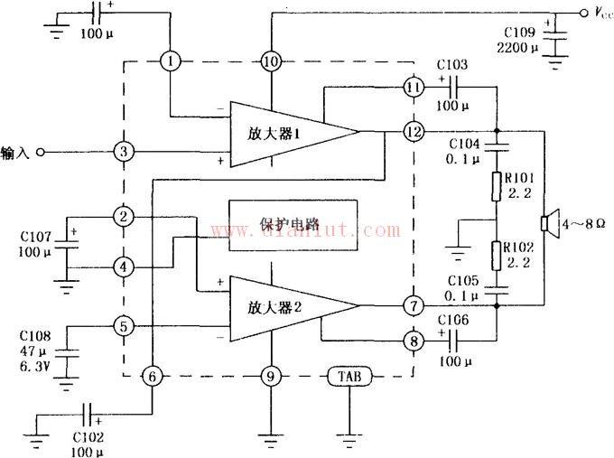 本电路采用音频功率放大(将音频输入信号Vi放大后,输出VO接到扬声器,扬声器另一端接地。)集成电路HA1388,采用12脚单列直插塑料封装结构。该电路在电源电压13.2V、4负载阻抗和10%失真时,输出功率为l8W,并且不用输出耦合电容。电路内设有过压和热切断保护电路,外接元件也较少,适用于汽车收音机中作音频功率放大器。如图所示为HA1388的内部电路框图及其典型应用电路。HA1388的引脚功能:1.