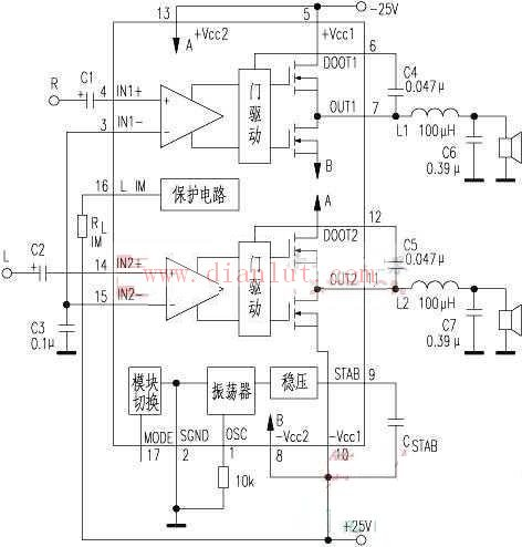 tda8902j双50w数字功放电路原理图