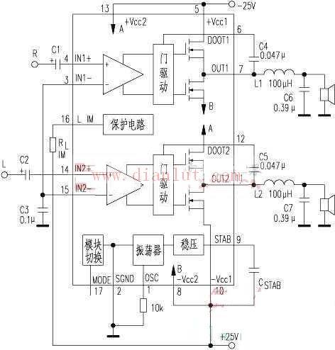 TDA8902J是飞利浦公司最近推出的一款250W立体声数字功放IC.它的主要技术指标:电源10V~40V,典型工作电压为25V;静态电流约35mA;当电源电压为25V,负载为8时,输出功率230W;当电源电压为30V时,可输出250W;信号频率f为1kHz、输出1W时,失真为0.1%,总谐波失真为0.2%;电压增益为30dB;开关频率为500kHz。它很适合用于高级音响设备中作功放。   如果将TDA8901J接成BTL状态,电源电压为25V,最大输出功率约130W。   下图为该IC的内部结构及