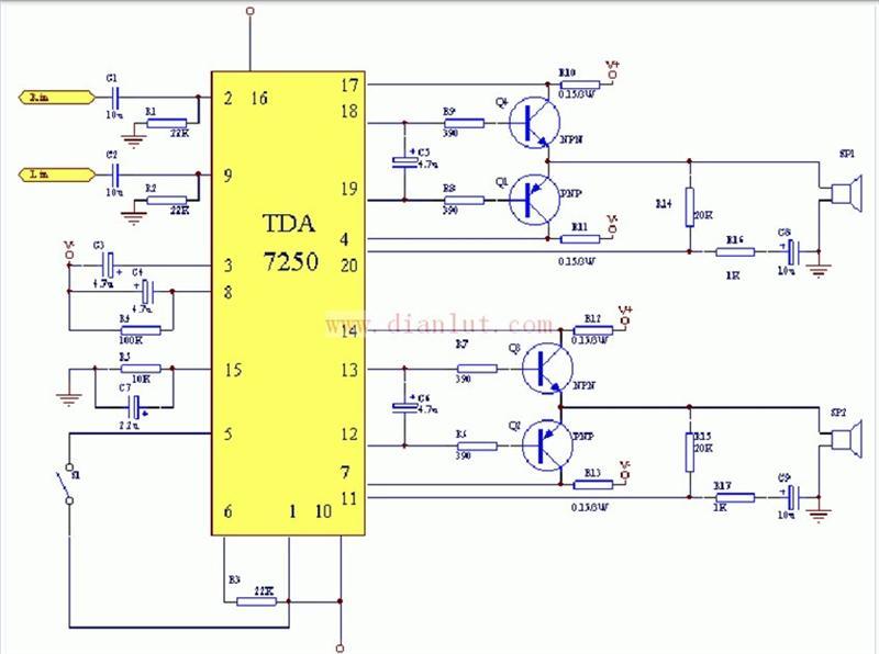 基于tda7250驱动制作的100w功放原理及电路