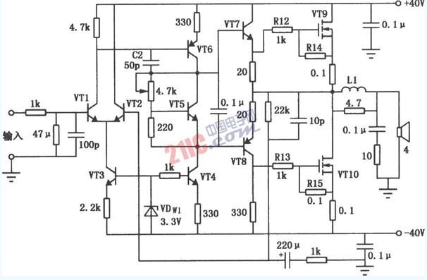 【图】80w音频功率放大器的特性音频电路