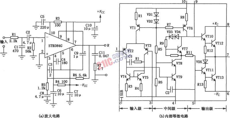 【图】基于stk084g的50w厚膜功放电路图及其原理音频
