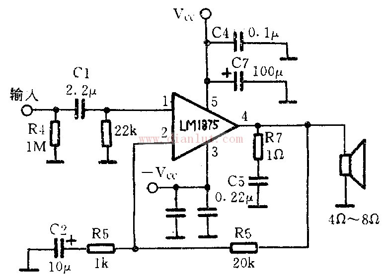 LM1875是一款功率放大集成块,它在使用中外围电路少,而且有完善的过载保护功能。 它为五针脚形状, 一针脚为信号正极输入 二针脚为信号负极输入三针脚接地,四针脚电源正极输入,五针脚为信号输出 LM1875制作功放电路如下LM1875采用TO-220封装结构,形如一只中功率管,体积小巧,外围电路简单,且输出功率较大。该集成电路内部设有过载过热及感性负载反向电势安全工作保护。 来源:
