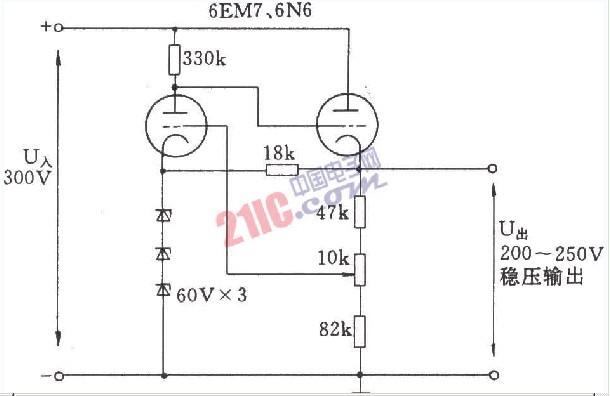 三极电子管的稳压电路音频电路 电路图 捷配电子市场网图片