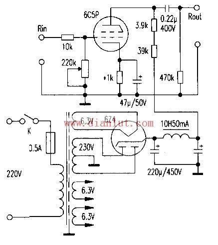 6c5p设计的前级放大电路示意图