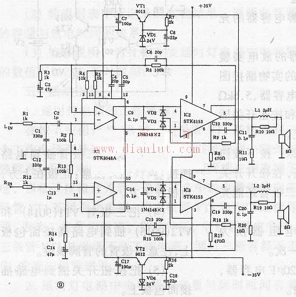 高保真功放集成电路stk6153组成的2×100w功放电路示意图