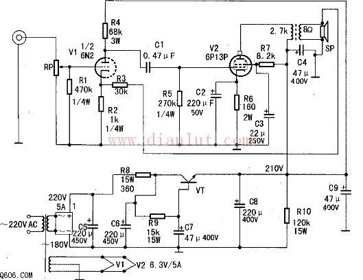 由6P13P设计的胆机功放电路图如图。   其具体工作原理为:其采用5A全桥整流。该直流210V电压经R7降压、C3、C9滤波,供给6P13P屏栅极工作。经变压、整流和C5、R8、C6滤波后,再经VT、R9、C7和C8进一步滤波,供给6P13P阳极所需工作电压。   6N2及6P13P栅极电阻应选用1/2W的。