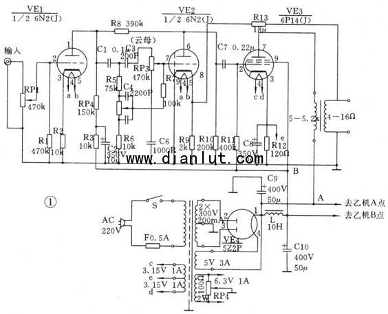 末前级是典型的具有阴极电阻的自生偏压兼越级负反馈的电压放大器.