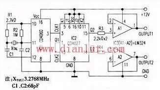 由CD4060和CD4027构成的50Hz振荡器电路