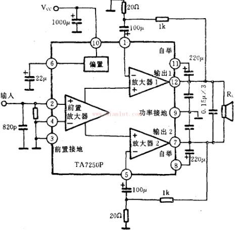 ta7250/ta7250p功率放大电路图原理图