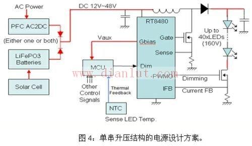 基于RT8480集成芯片构成单串升压电源电路