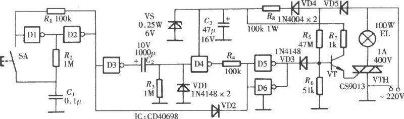 【图】门电路组成的延时灯电路图控制电路